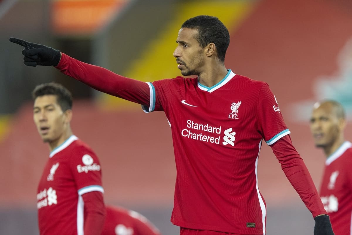 LIVERPOOL, ENGLAND - Sunday, December 6, 2020: Liverpool's Joel Matip during the FA Premier League match between Liverpool FC and Wolverhampton Wanderers FC at Anfield. Liverpool won 4-0. (Pic by David Rawcliffe/Propaganda)
