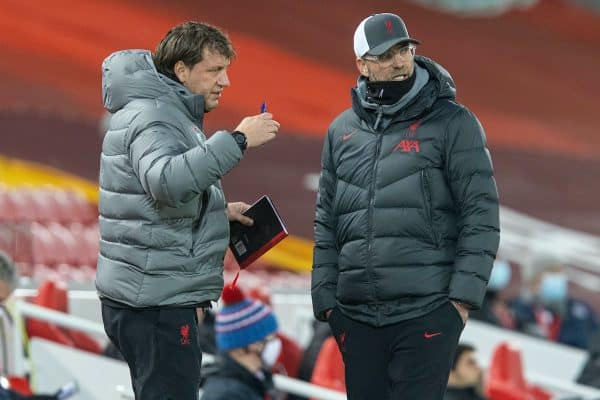 LIVERPOOL, ENGLAND - Sunday, December 6, 2020: Liverpool's manager Jürgen Klopp (R) and assistant manager Peter Krawietz during the FA Premier League match between Liverpool FC and Wolverhampton Wanderers FC at Anfield. Liverpool won 4-0. (Pic by David Rawcliffe/Propaganda)