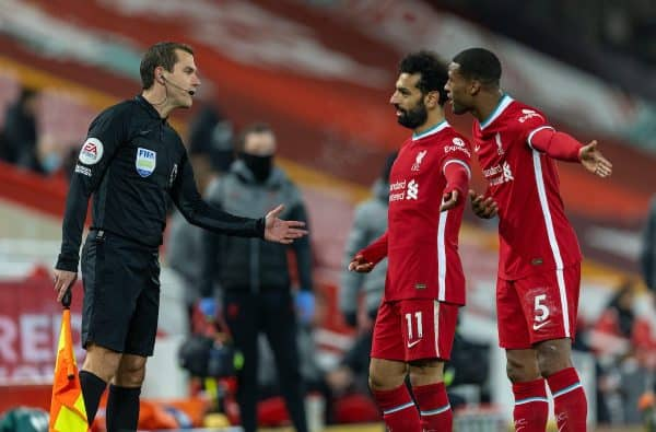 LIVERPOOL, ENGLAND - Sunday, December 6, 2020: Liverpool's Mohamed Salah and Georginio Wijnaldum remonstrate with the assistant referee during the FA Premier League match between Liverpool FC and Wolverhampton Wanderers FC at Anfield. Liverpool won 4-0. (Pic by David Rawcliffe/Propaganda)