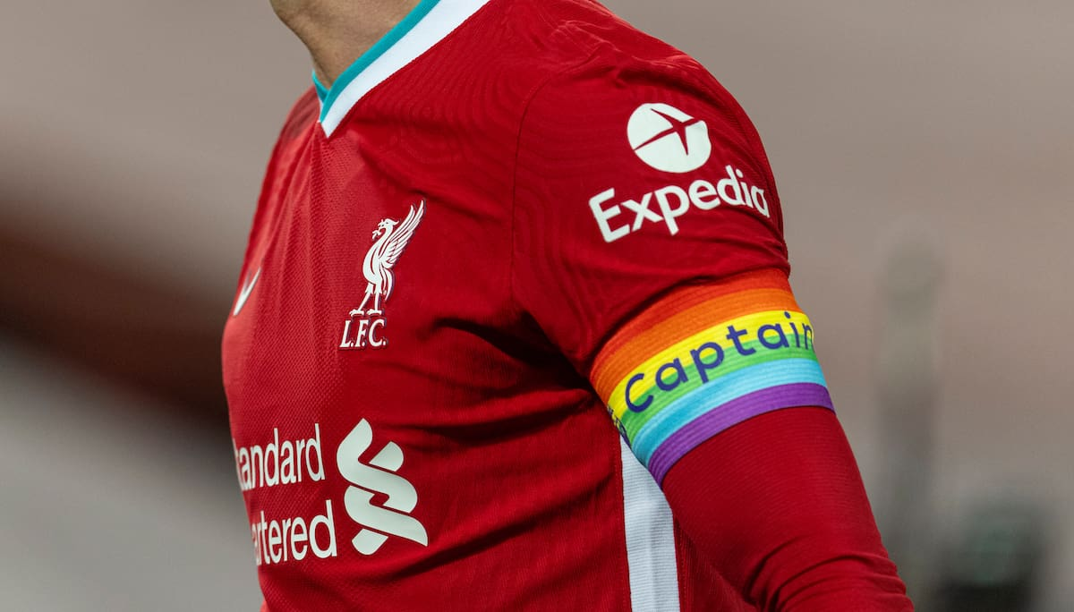 LIVERPOOL, ENGLAND - Sunday, December 6, 2020: Liverpool's captain Jordan Henderson, wearing a rainbow armband, during the FA Premier League match between Liverpool FC and Wolverhampton Wanderers FC at Anfield. Liverpool won 4-0. (Pic by David Rawcliffe/Propaganda)