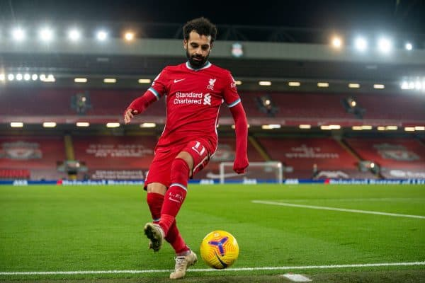 LIVERPOOL, ENGLAND - Sunday, December 6, 2020: Liverpool's Mohamed Salah during the FA Premier League match between Liverpool FC and Wolverhampton Wanderers FC at Anfield. Liverpool won 4-0. (Pic by David Rawcliffe/Propaganda)