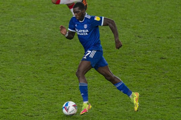 STOKE-ON-TRENT, ENGLAND - Tuesday, December 8, 2020: Cardiff City's Sheyi Ojo during the Football League Championship match between Stoke City FC and Cardiff City FC at the Bet365 Stadium. Cardiff City won 2-1. (Pic by David Rawcliffe/Propaganda)