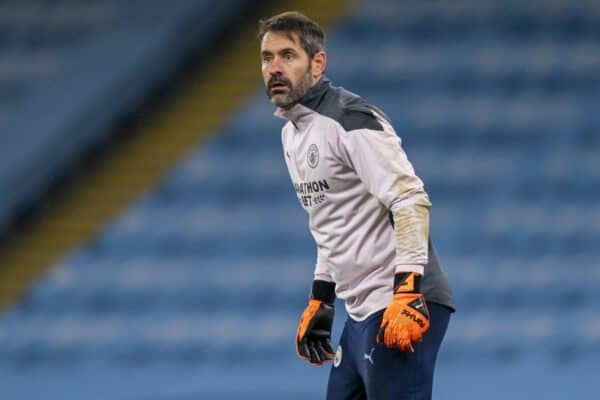 MANCHESTER, ENGLAND - Wednesday, December 9, 2020: Manchester City's goalkeeper Scott Carson during the pre-match warm-up before the UEFA Champions League Group C match between Manchester City FC and Olympique de Marseille at the City of Manchester Stadium. Manchester City won 3-0. (Pic by David Rawcliffe/Propaganda)
