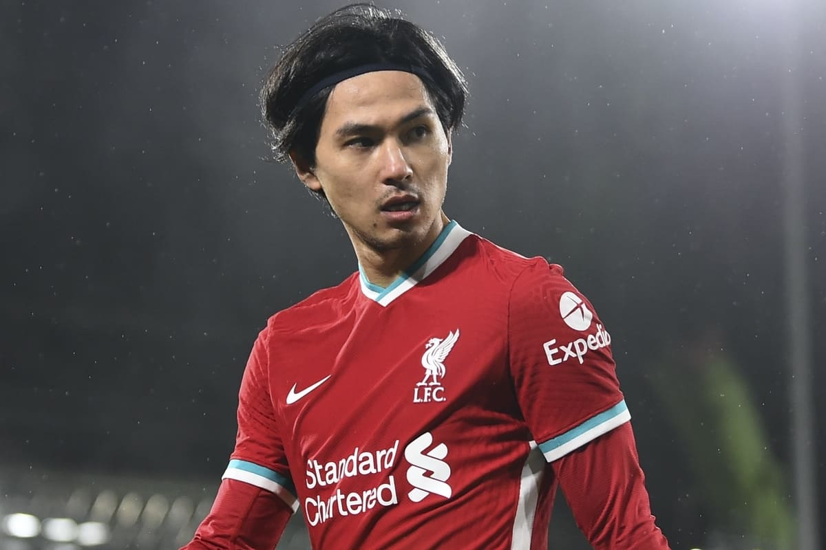 LONDON, ENGLAND - Sunday, December 13, 2020: Liverpool's substitute Takumi Minamino during the FA Premier League match between Fulham FC and Liverpool FC at Craven Cottage. (Pic by David Rawcliffe/Propaganda)