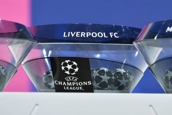 NYON, SWITZERLAND - Monday, December 14, 2020: The draw pot for Liverpool FC during the UEFA Champions League 2020/21 Round of 16 draw at the UEFA Headquarters, the House of European Football. (Photo Handout/UEFA)