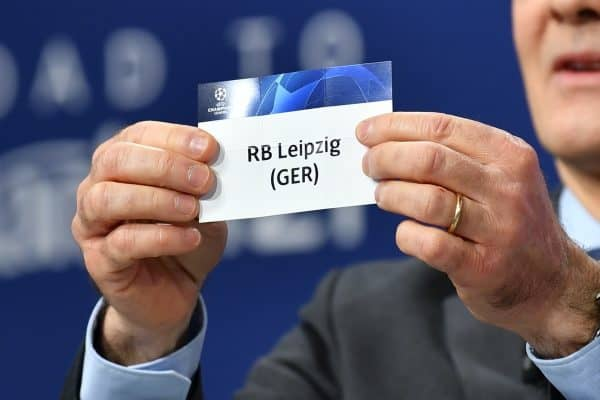 NYON, SWITZERLAND - Monday, December 14, 2020: UEFA Deputy General Secretary Giorgio Marchetti draws out RB Leipzig, to face Liverpool FC, during the UEFA Champions League 2020/21 Round of 16 draw at the UEFA Headquarters, the House of European Football. (Photo Handout/UEFA)
