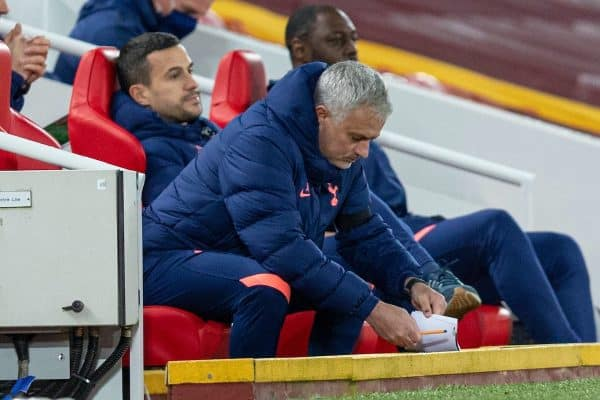 LIVERPOOL, ENGLAND - Wednesday, December 16, 2020: Tottenham Hotspur's manager José Mourinho makes notes during the FA Premier League match between Liverpool FC and Tottenham Hotspur FC at Anfield. Liverpool won 2-1. (Pic by David Rawcliffe/Propaganda)