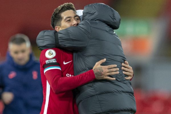 LIVERPOOL, ENGLAND - Wednesday, December 16, 2020: Liverpool's match-winning goal-scorer Roberto Firmino (L) celebrates with manager Jürgen Klopp at the final whistle during the FA Premier League match between Liverpool FC and Tottenham Hotspur FC at Anfield. Liverpool won 2-1. (Pic by David Rawcliffe/Propaganda)