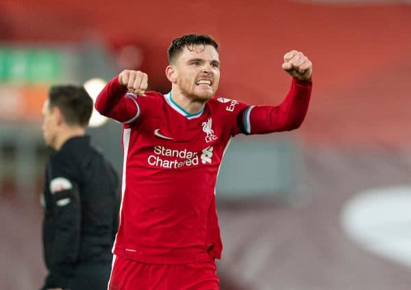 LIVERPOOL, ENGLAND - Wednesday, December 16, 2020: Liverpool's Andy Robertson celebrates at the final whistle during the FA Premier League match between Liverpool FC and Tottenham Hotspur FC at Anfield. Liverpool won 2-1. (Pic by David Rawcliffe/Propaganda)