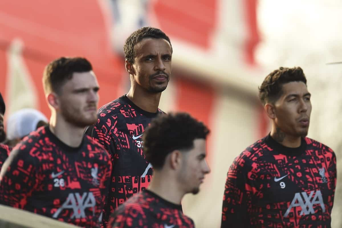 LONDON, ENGLAND - Saturday, December 19, 2020: Liverpool's Joel Matip during the pre-match warm-up before the FA Premier League match between Crystal Palace FC and Liverpool FC at Selhurst Park. (Pic by David Rawcliffe/Propaganda)