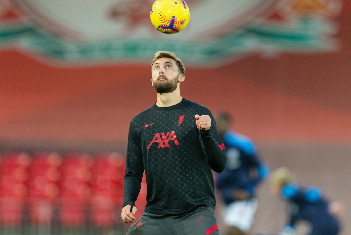 LIVERPOOL, ENGLAND - Sunday, December 27, 2020: Liverpool's Nathaniel Phillips during the pre-match warm-up before the FA Premier League match between Liverpool FC and West Bromwich Albion FC at Anfield. The game ended in a 1-1 draw. (Pic by David Rawcliffe/Propaganda)
