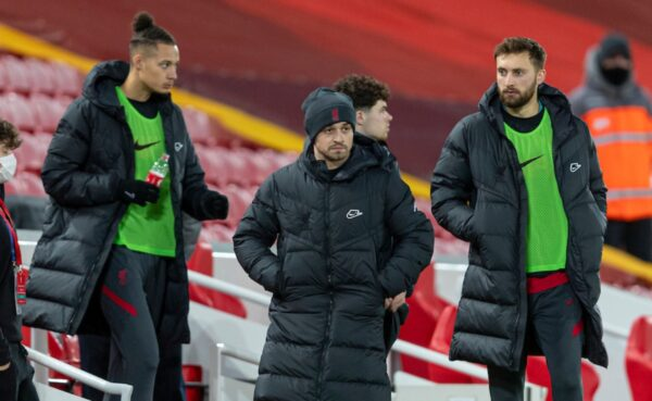 Liverpool's substitutes Rhys Williams, Xherdan Shaqiri and Nathaniel Phillips before the FA Premier League match between Liverpool FC and West Bromwich Albion FC at Anfield. The game ended in a 1-1 draw. (Pic by David Rawcliffe/Propaganda)