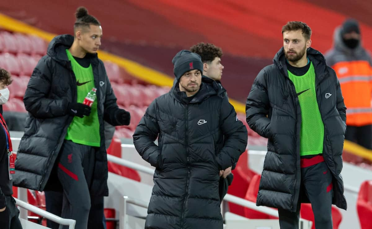 LIVERPOOL, ENGLAND - Sunday, December 27, 2020: Liverpool's substitutes Rhys Williams, Xherdan Shaqiri and Nathaniel Phillips before the FA Premier League match between Liverpool FC and West Bromwich Albion FC at Anfield. The game ended in a 1-1 draw. (Pic by David Rawcliffe/Propaganda)