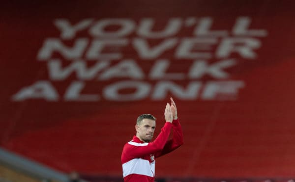 LIVERPOOL, ENGLAND - Sunday, December 27, 2020: Liverpool's captain Jordan Henderson applauds the supporters as he leads his side before during the FA Premier League match between Liverpool FC and West Bromwich Albion FC at Anfield. The game ended in a 1-1 draw. (Pic by David Rawcliffe/Propaganda)