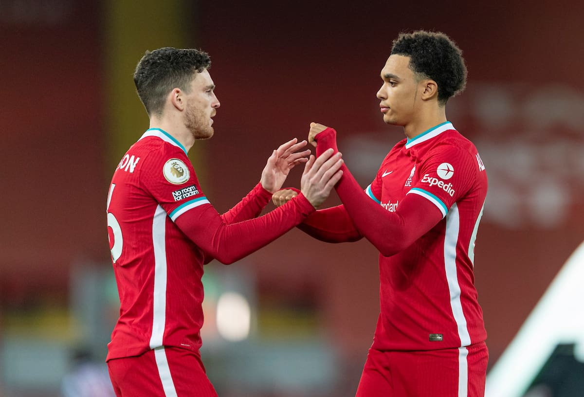 LIVERPOOL, ENGLAND - Sunday, December 27, 2020: Liverpool's Trent Alexander-Arnold (R) and Andy Robertson before the FA Premier League match between Liverpool FC and West Bromwich Albion FC at Anfield. The game ended in a 1-1 draw. (Pic by David Rawcliffe/Propaganda)