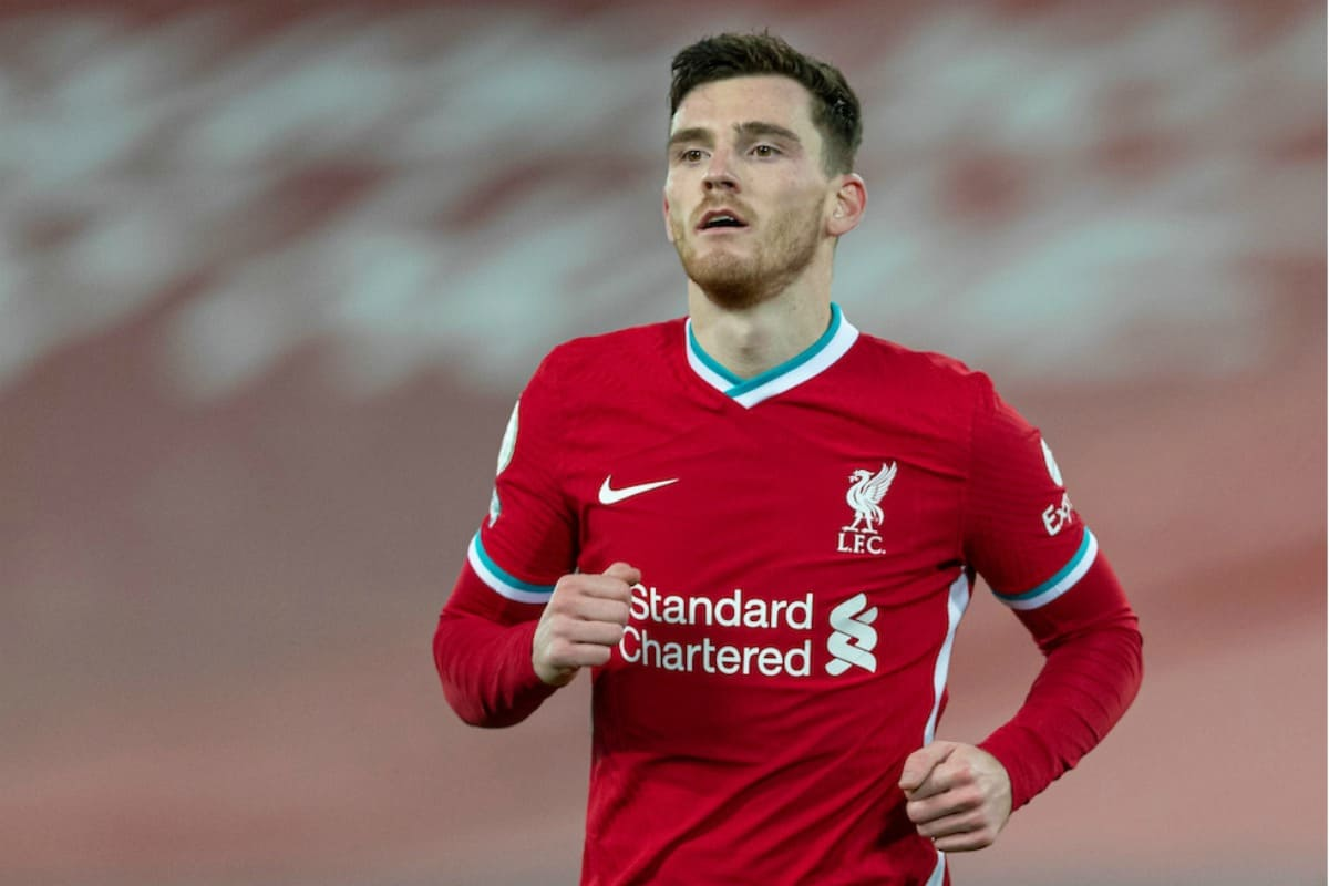 LIVERPOOL, ENGLAND - Sunday, December 27, 2020: Liverpool's Andy Robertson during the FA Premier League match between Liverpool FC and West Bromwich Albion FC at Anfield. The game ended in a 1-1 draw. (Pic by David Rawcliffe/Propaganda)