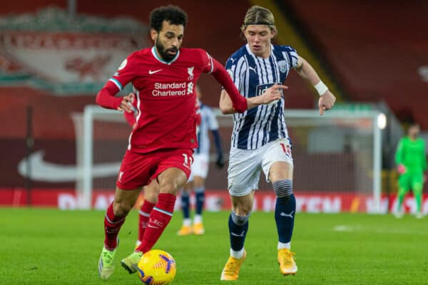 LIVERPOOL, ENGLAND - Sunday, December 27, 2020: Liverpool's Mohamed Salah (L) and West Bromwich Albion's Conor Gallagher during the FA Premier League match between Liverpool FC and West Bromwich Albion FC at Anfield. The game ended in a 1-1 draw. (Pic by David Rawcliffe/Propaganda)