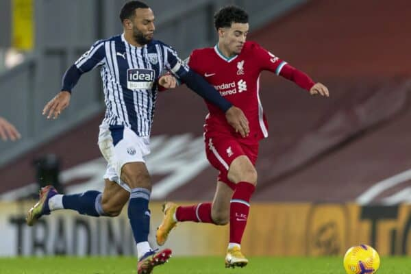 LIVERPOOL, ENGLAND - Sunday, December 27, 2020: Liverpool's Curtis Jones (R) during the FA Premier League match between Liverpool FC and West Bromwich Albion FC at Anfield. The game ended in a 1-1 draw. (Pic by David Rawcliffe/Propaganda)