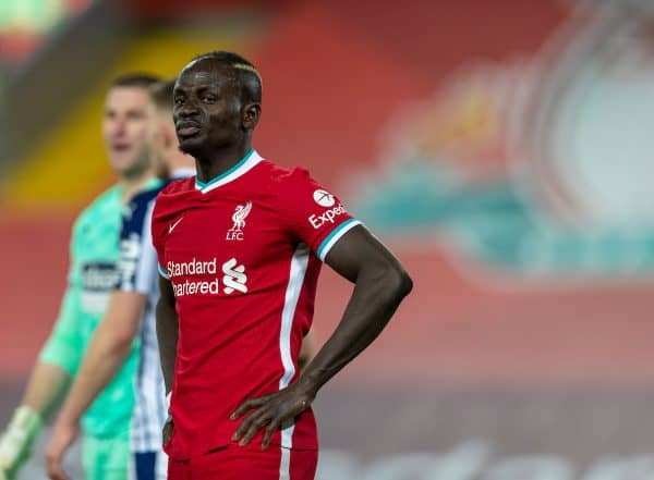 Liverpool's Sadio Mané looks dejected after missing a chance during the FA Premier League match between Liverpool FC and West Bromwich Albion FC at Anfield. The game ended in a 1-1 draw. (Pic by David Rawcliffe/Propaganda)