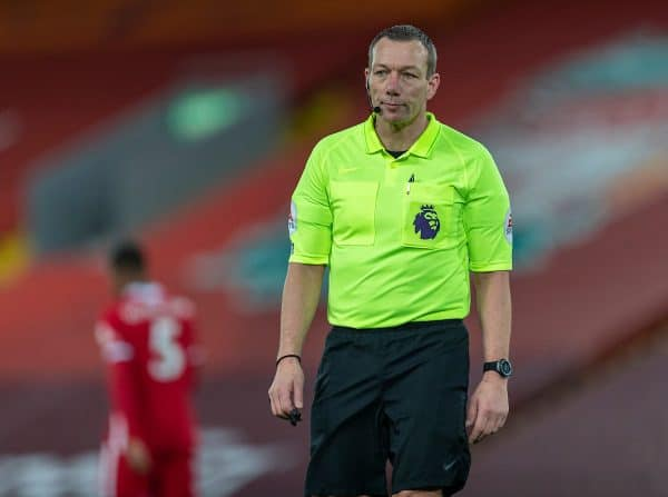 LIVERPOOL, ENGLAND - Sunday, December 27, 2020: Referee Kevin Friend during the FA Premier League match between Liverpool FC and West Bromwich Albion FC at Anfield. The game ended in a 1-1 draw. (Pic by David Rawcliffe/Propaganda)