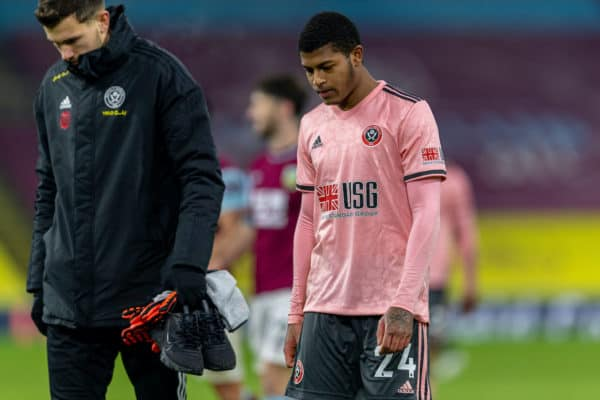 BURNLEY, ENGLAND - Tuesday, December 29, 2020: Sheffield United's Rhian Brewster walks off after the FA Premier League match between Burnley FC and Sheffield United FC at Turf Moor. Burnley won 1-0. (Pic by David Rawcliffe/Propaganda)