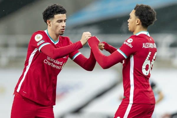 NEWCASTLE-UPON-TYNE, ENGLAND - Wednesday, December 30, 2020: Liverpool's Curtis Jones (L) and Trent Alexander-Arnold before the FA Premier League match between Newcastle United FC and Liverpool FC at St. James' Park. The game ended in a goal-less draw. (Pic by David Rawcliffe/Propaganda)