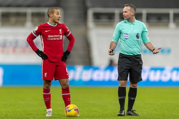 NEWCASTLE-UPON-TYNE, ENGLAND - Wednesday, December 30, 2020: Liverpool's Thiago Alcantara and referee Paul Tierney during the FA Premier League match between Newcastle United FC and Liverpool FC at St. James' Park. The game ended in a goal-less draw. (Pic by David Rawcliffe/Propaganda)