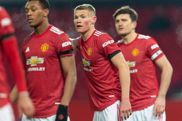 MANCHESTER, ENGLAND - Friday, January 1, 2020: Manchester United's Scott McTominay during the New Year's Day FA Premier League match between Manchester United FC and Aston Villa FC at Old Trafford. The game was played behind closed doors due to the UK government putting Greater Manchester in Tier 4: Stay at Home during the Coronavirus COVID-19 Pandemic. (Pic by David Rawcliffe/Propaganda)