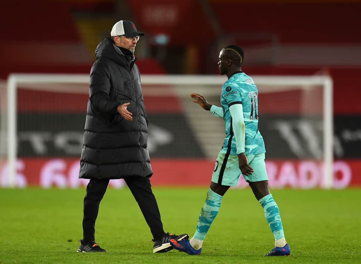 SOUTHAMPTON, ENGLAND - Monday, January 4, 2021: Liverpool's manager Jürgen Klopp (L) and Sadio Mané after the 1-0 defeat during the FA Premier League match between Southampton FC and Liverpool FC at St Mary's Stadium. Southampton won 1-0.(Pic by Propaganda)