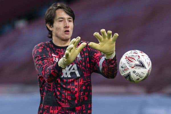 BIRMINGHAM, ENGLAND - Friday, January 8, 2021: Liverpool's goalkeeper Marcelo Pitaluga during the pre-match warm-up before the FA Cup 3rd Round match between Aston Villa FC and Liverpool FC at Villa Park. Liverpool won 4-1. (Pic by David Rawcliffe/Propaganda)