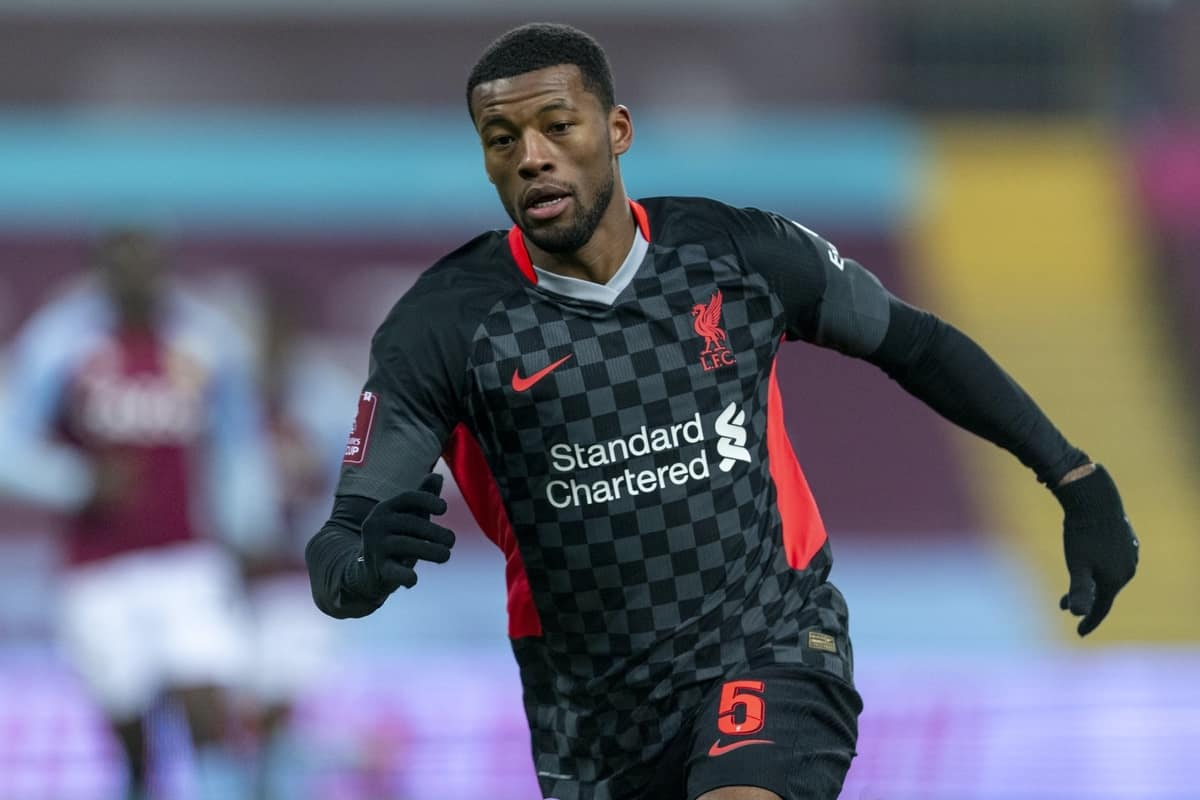 BIRMINGHAM, ENGLAND - Friday, January 8, 2021: Liverpool's Georginio Wijnaldum during the FA Cup 3rd Round match between Aston Villa FC and Liverpool FC at Villa Park. Liverpool won 4-1. (Pic by David Rawcliffe/Propaganda)