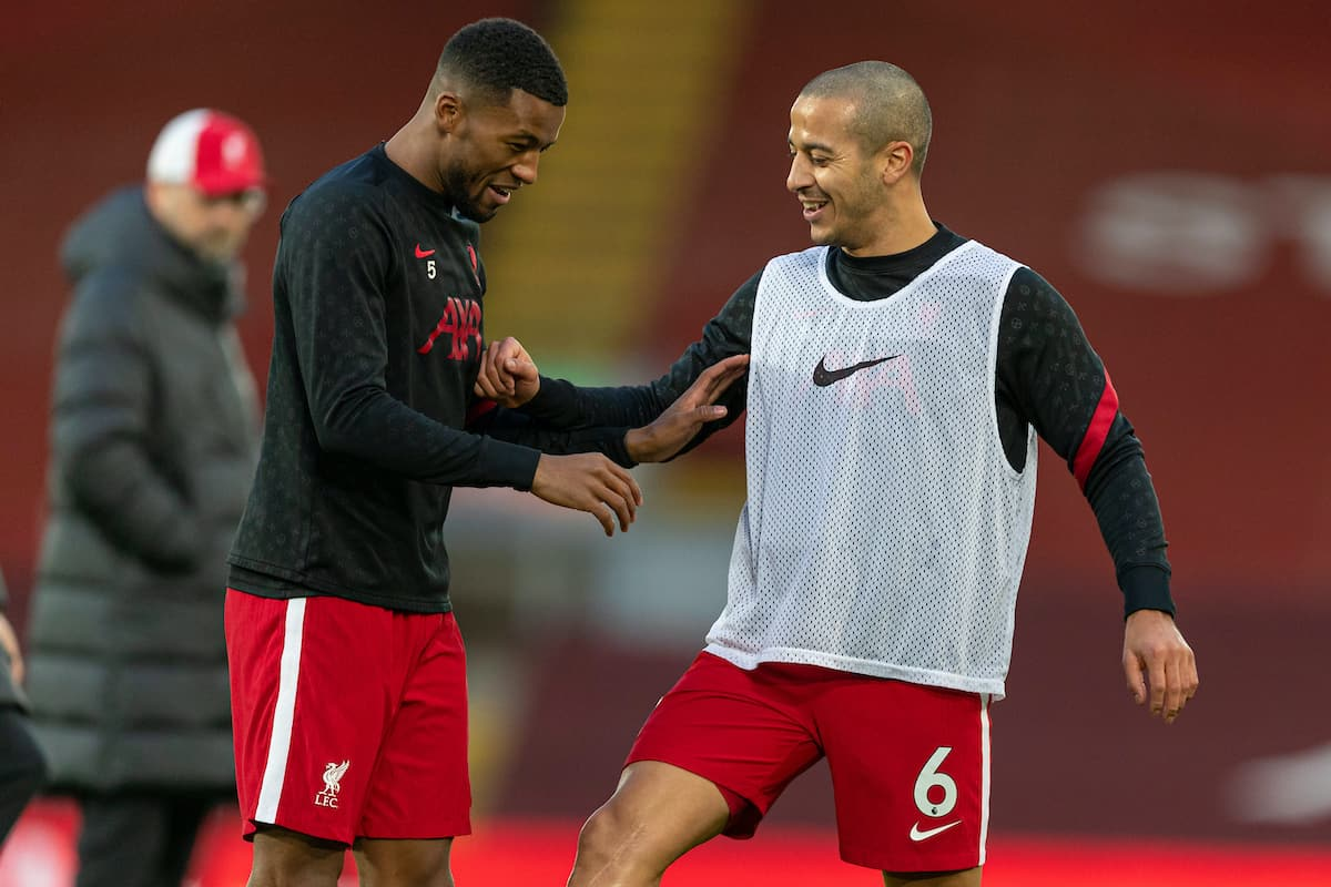 LIVERPOOL, ENGLAND - Sunday, January 17, 2021: Liverpool's Georginio Wijnaldum (L) and Thiago Alcantara during the pre-match warm-up before the FA Premier League match between Liverpool FC and Manchester United FC at Anfield. The game ended in a 0-0 draw. (Pic by David Rawcliffe/Propaganda)