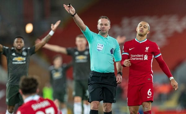 LIVERPOOL, ENGLAND - Sunday, January 17, 2021: Referee Paul Tierney (L) and Liverpool's Thiago Alcantara during the FA Premier League match between Liverpool FC and Manchester United FC at Anfield. The game ended in a 0-0 draw. (Pic by David Rawcliffe/Propaganda)