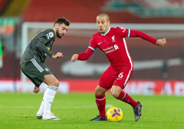 LIVERPOOL, ENGLAND - Sunday, January 17, 2021: Liverpool's Thiago Alcantara during the FA Premier League match between Liverpool FC and Manchester United FC at Anfield. The game ended in a 0-0 draw. (Pic by David Rawcliffe/Propaganda)