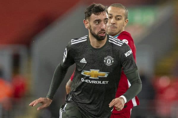 LIVERPOOL, ENGLAND - Sunday, January 17, 2021: Manchester United's Bruno Fernandes (L) and Liverpool's Thiago Alcantara during the FA Premier League match between Liverpool FC and Manchester United FC at Anfield. The game ended in a 0-0 draw. (Pic by David Rawcliffe/Propaganda)