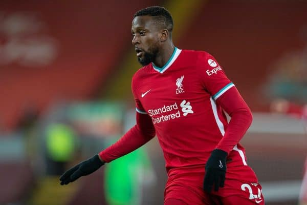 LIVERPOOL, ENGLAND - Sunday, January 17, 2021: Liverpool's substitute Divock Origi during the FA Premier League match between Liverpool FC and Manchester United FC at Anfield. The game ended in a 0-0 draw. (Pic by David Rawcliffe/Propaganda)