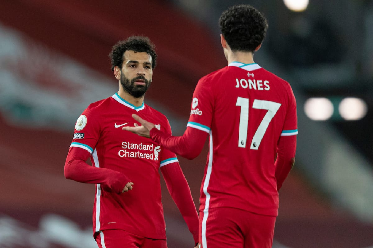 LIVERPOOL, ENGLAND - Sunday, January 17, 2021: Liverpool's Mohamed Salah (L) and Curtis Jones after the FA Premier League match between Liverpool FC and Manchester United FC at Anfield. The game ended in a 0-0 draw. (Pic by David Rawcliffe/Propaganda)