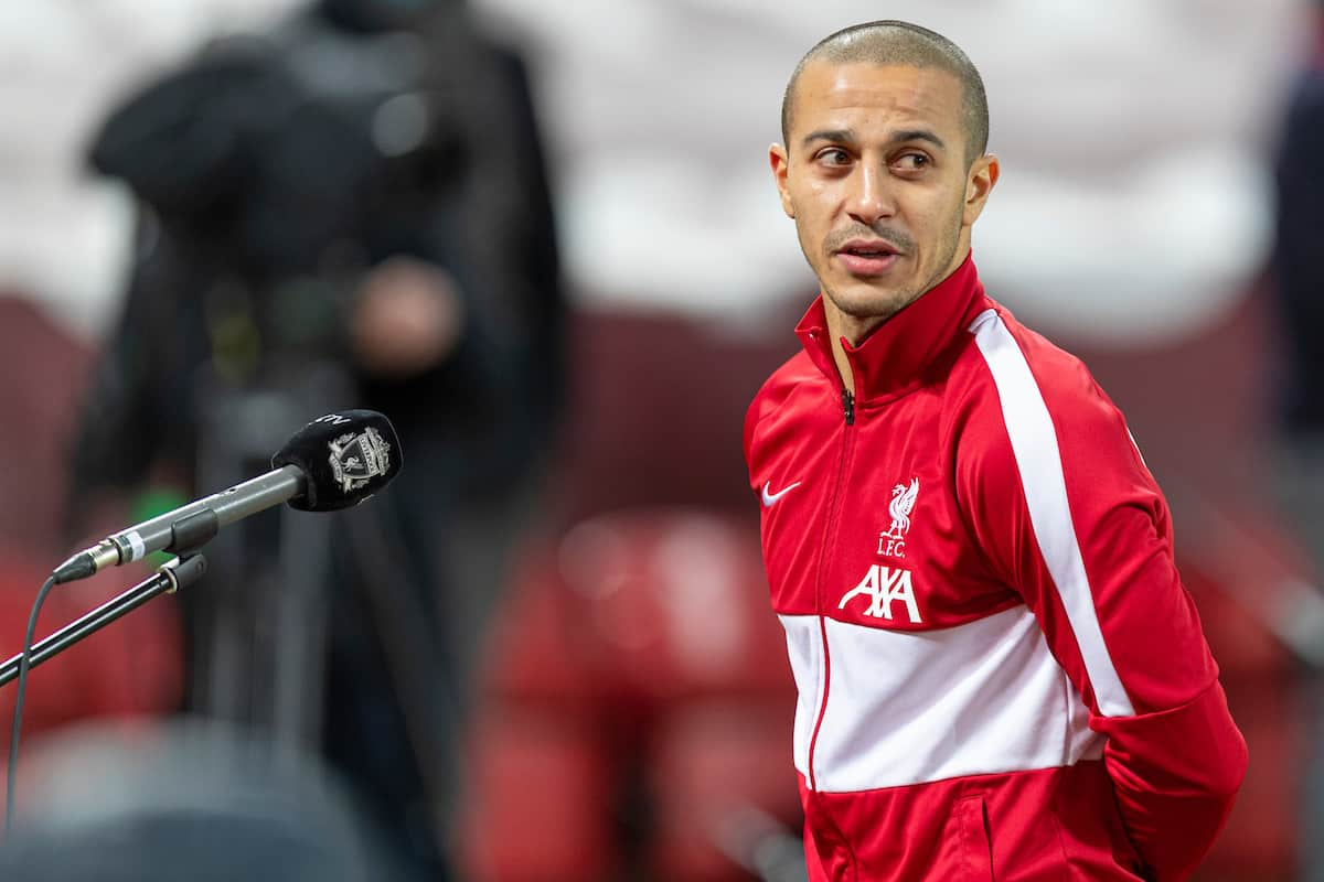 LIVERPOOL, ENGLAND - Sunday, January 17, 2021: Liverpool's Thiago Alcantara is interviewed by LFC.TV after the FA Premier League match between Liverpool FC and Manchester United FC at Anfield. The game ended in a 0-0 draw. (Pic by David Rawcliffe/Propaganda)