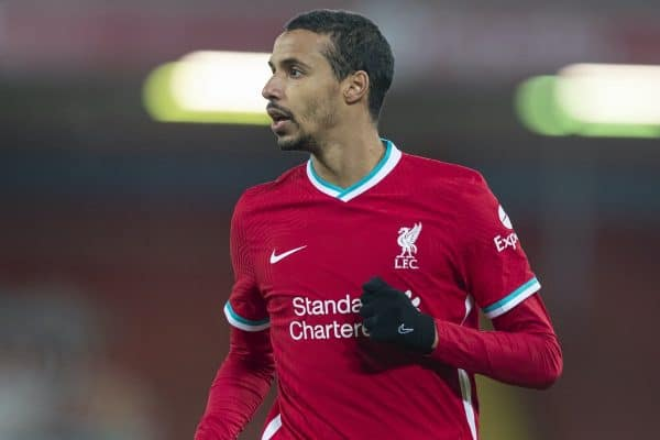 LIVERPOOL, ENGLAND - Thursday, January 21, 2021: Liverpool's Joel Matip during the FA Premier League match between Liverpool FC and Burnley FC at Anfield. Burnley won 1-0 ending Liverpool's run of 68 games unbeaten at home. (Pic by David Rawcliffe/Propaganda)