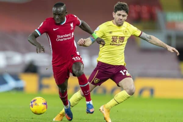 LIVERPOOL, ENGLAND - Thursday, January 21, 2021: Liverpool's Sadio Mané (L) and Burnley's Robbie Brady during the FA Premier League match between Liverpool FC and Burnley FC at Anfield. Burnley won 1-0 ending Liverpool's run of 68 games unbeaten at home. (Pic by David Rawcliffe/Propaganda)