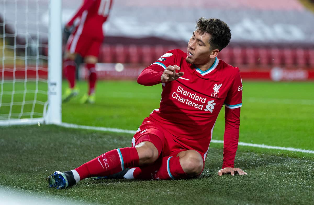 LIVERPOOL, ENGLAND - Thursday, January 21, 2021: Liverpool's Roberto Firmino looks dejected after missing a chance during the FA Premier League match between Liverpool FC and Burnley FC at Anfield. Burnley won 1-0 ending Liverpool's run of 68 games unbeaten at home. (Pic by David Rawcliffe/Propaganda)