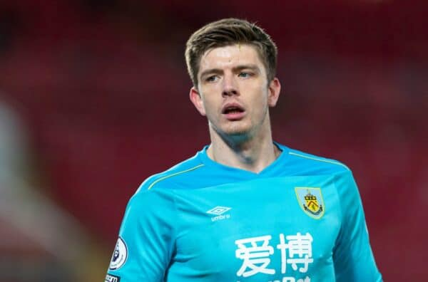 LIVERPOOL, ENGLAND - Thursday, January 21, 2021: Burnley's goalkeeper Nick Pope during the FA Premier League match between Liverpool FC and Burnley FC at Anfield. Burnley won 1-0 ending Liverpool's run of 68 games unbeaten at home. (Pic by David Rawcliffe/Propaganda)