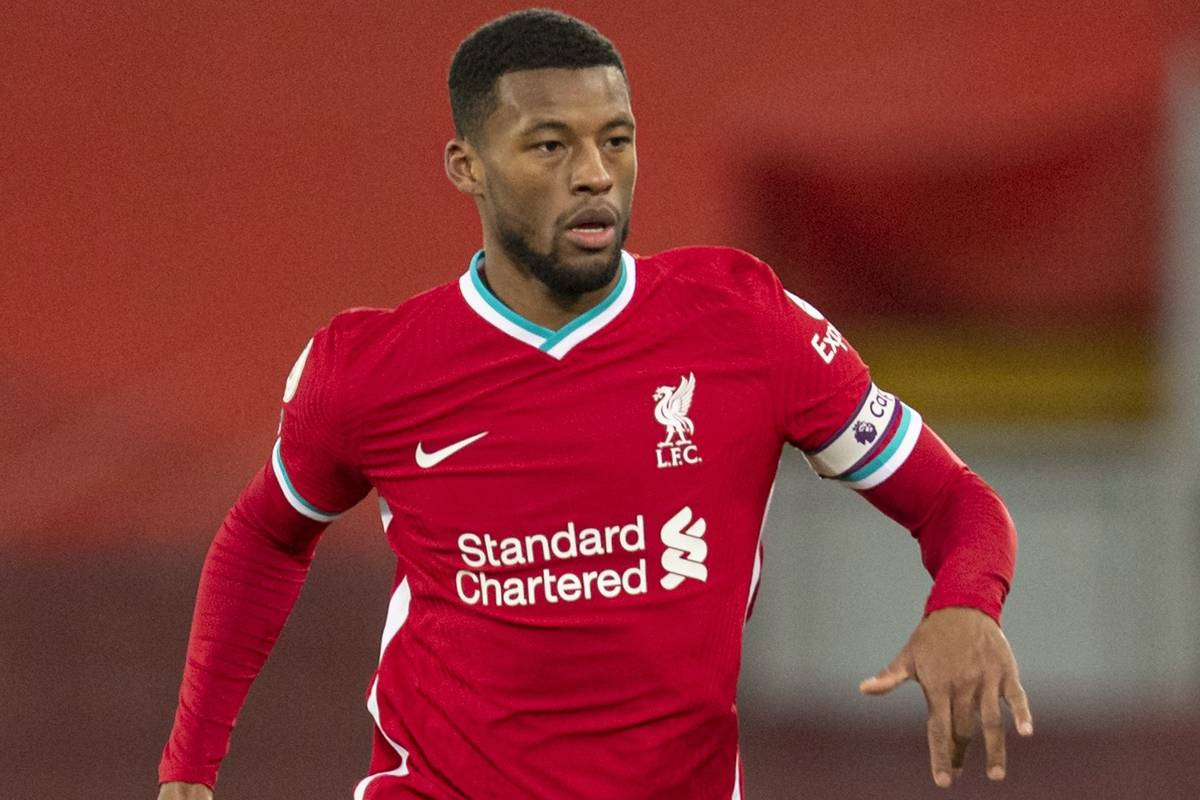 LIVERPOOL, ENGLAND - Thursday, January 21, 2021: Liverpool's captain Georginio Wijnaldum during the FA Premier League match between Liverpool FC and Burnley FC at Anfield. Burnley won 1-0 ending Liverpool's run of 68 games unbeaten at home. (Pic by David Rawcliffe/Propaganda)