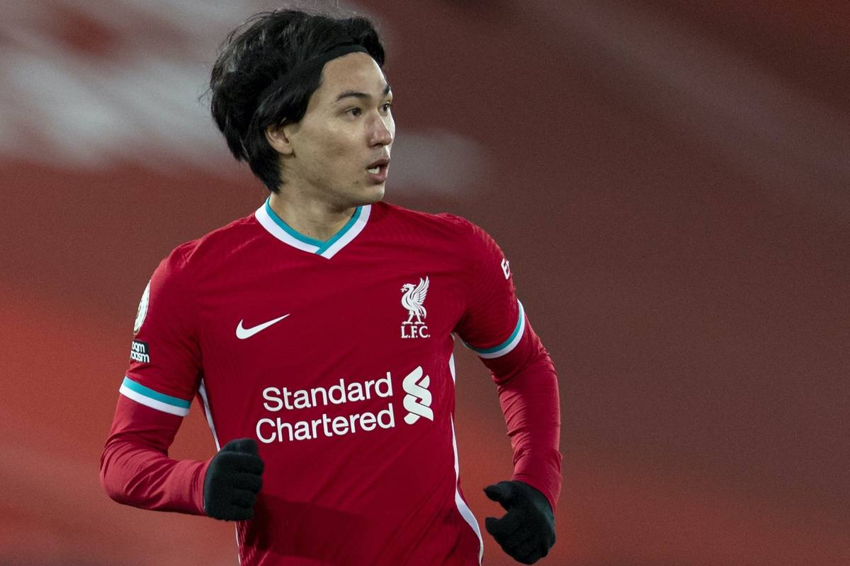 LIVERPOOL, ENGLAND - Thursday, January 21, 2021: Liverpool's Takumi Minamino during the FA Premier League match between Liverpool FC and Burnley FC at Anfield. Burnley won 1-0 ending Liverpool's run of 68 games unbeaten at home. (Pic by David Rawcliffe/Propaganda)