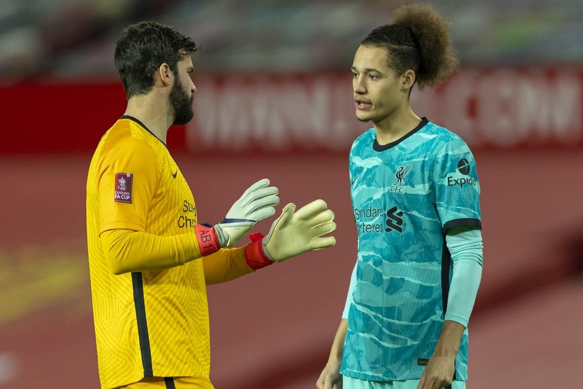 LIVERPOOL, ENGLAND - Sunday, January 24, 2021: Liverpool's Rhys Williams (R) and goalkeeper Alisson Becker before the FA Cup 4th Round match between Manchester United FC and Liverpool FC at Old Trafford. Manchester United won 3-2. (Pic by David Rawcliffe/Propaganda)