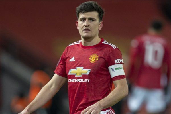LIVERPOOL, ENGLAND - Sunday, January 24, 2021: Manchester United's captain Harry Maguire during the FA Cup 4th Round match between Manchester United FC and Liverpool FC at Old Trafford. Manchester United won 3-2. (Pic by David Rawcliffe/Propaganda)