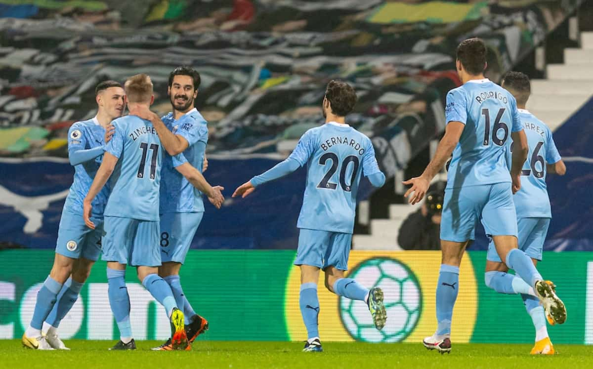 BIRMINGHAM, ENGLAND - Tuesday, January 26, 2021: Manchester City's I?lkay Gu?ndog?an (R) celebrates with team-mates after scoring the first goal during the FA Premier League match between West Bromwich Albion FC and Manchester City FC at The Hawthorns. Manchester City won 5-0. (Pic by David Rawcliffe/Propaganda)
