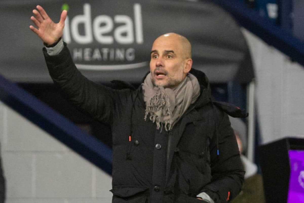 BIRMINGHAM, ENGLAND - Tuesday, January 26, 2021: Manchester City's manager Josep 'Pep' Guardiola during the FA Premier League match between West Bromwich Albion FC and Manchester City FC at The Hawthorns. Manchester City won 5-0. (Pic by David Rawcliffe/Propaganda)