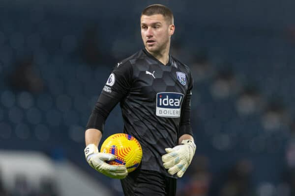 BIRMINGHAM, ENGLAND - Tuesday, January 26, 2021: West Bromwich Albion's goalkeeper Sam Johnstone during the FA Premier League match between West Bromwich Albion FC and Manchester City FC at The Hawthorns. Manchester City won 5-0. (Pic by David Rawcliffe/Propaganda)