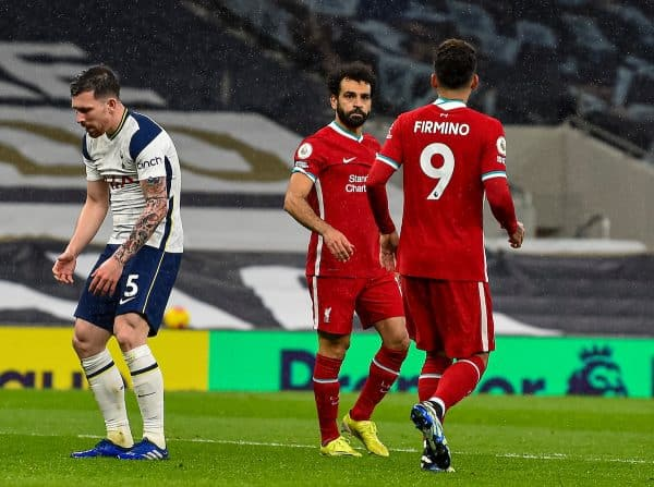 LONDON, ENGLAND - Thursday, January 28, 2021: Liverpool's Mohamed Salah (R) celebrates after scoring a goal, only for it to be disallowed after a VAR review, during the FA Premier League match between Tottenham Hotspur FC and Liverpool FC at the Tottenham Hotspur Stadium. (Pic by Propaganda)